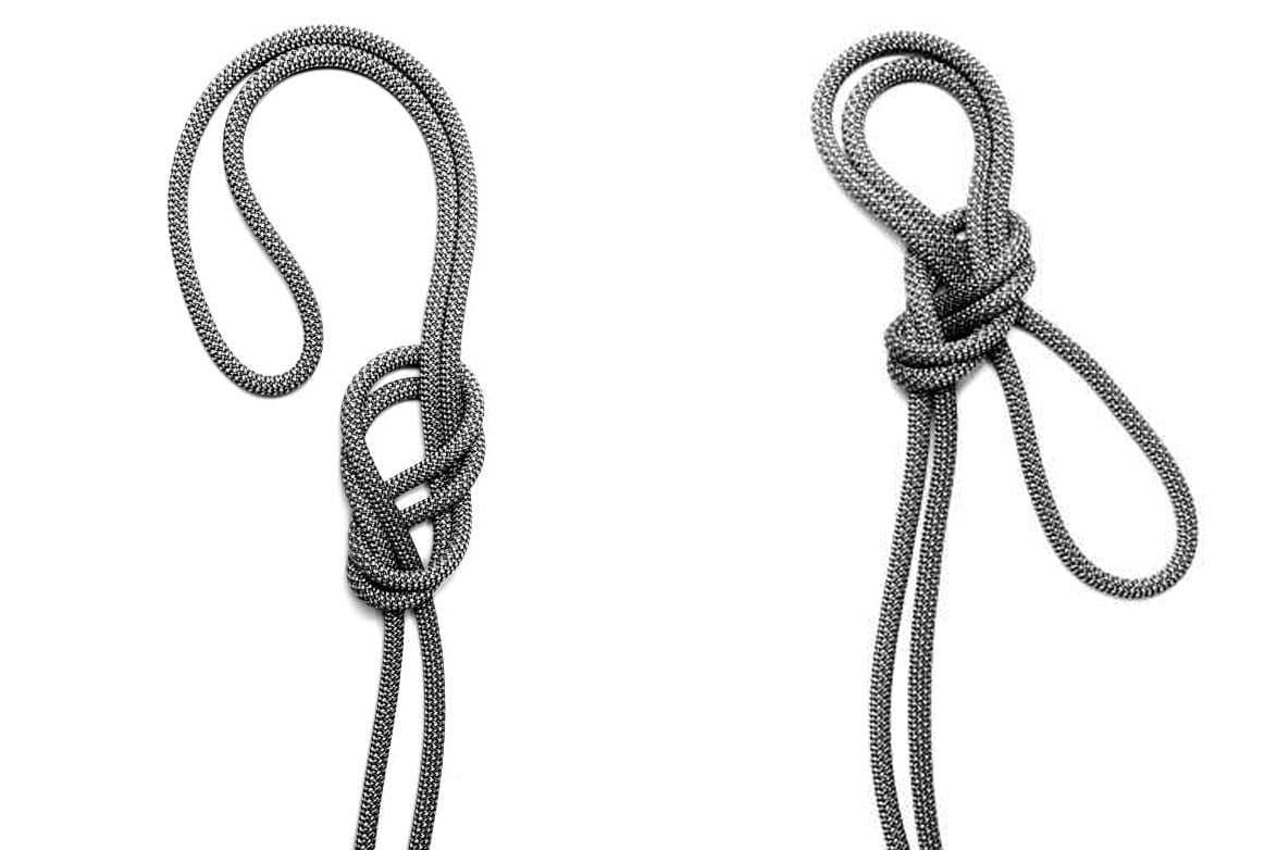 Il nodo delle guide doppio con frizione è ottimo per la realizzazione di una sosta con due punti di ancoraggio con un'unica corda. Le due asole possono essere regolate separatamente per un sistema equilibrato. In mancanza di imbracatura può essere utilizzato per ottenere dei cosciali e costruire un'imbracatura di emergenza anche con la stessa corda di cordata. Sul ramo finale della corda realizza un nodo delle guide con frizione. Tira l'asola verso l'alto per poi farla ripassare all'interno del nodo verso il basso, in questo modo si ottengono due asole. Prendi l'asola in basso e falla ruotare dietro alle asole in alto per poi metterla in basso in modo che sia vicina al nodo. Tira le due asole in alto in modo da chiudere il nodo con l'asola in basso che va a serrarsi ed in alto ottieni due asole dove inserire le protezioni o da usare come cosciali.